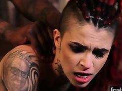 Punk tattooed Leigh Raven pounded by vast ebony phallus